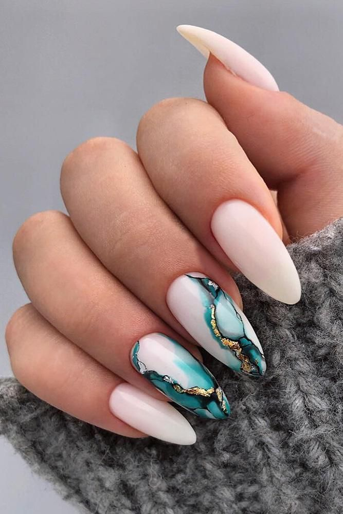 30 Wow Wedding Nail Ideas, Nail Ideas Wedding White Nails with Marble Blue ...