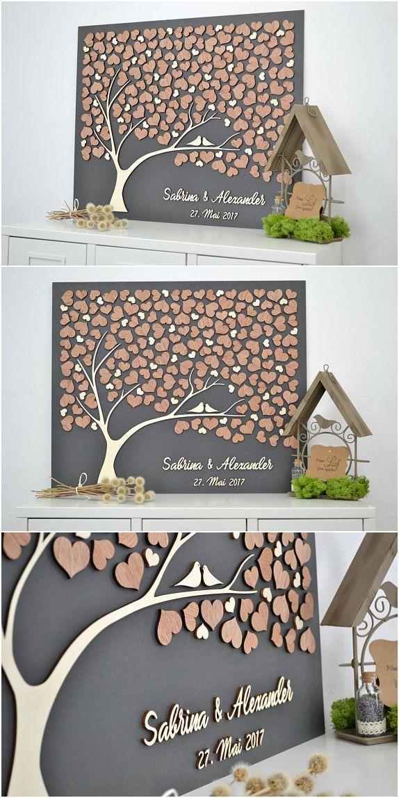 3D LOVE TREE Wedding Guestbook Alternative Tree Wood Custom Unique Guest ...