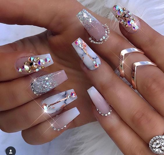 55 Acrylic Coffin Nails Designs Ideas # case #marble #matte #glossy #chrome #nails