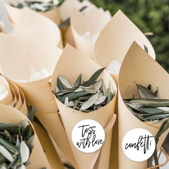 7 natural alternatives to wedding confetti #wedding #confetti # olive tree leaves ...