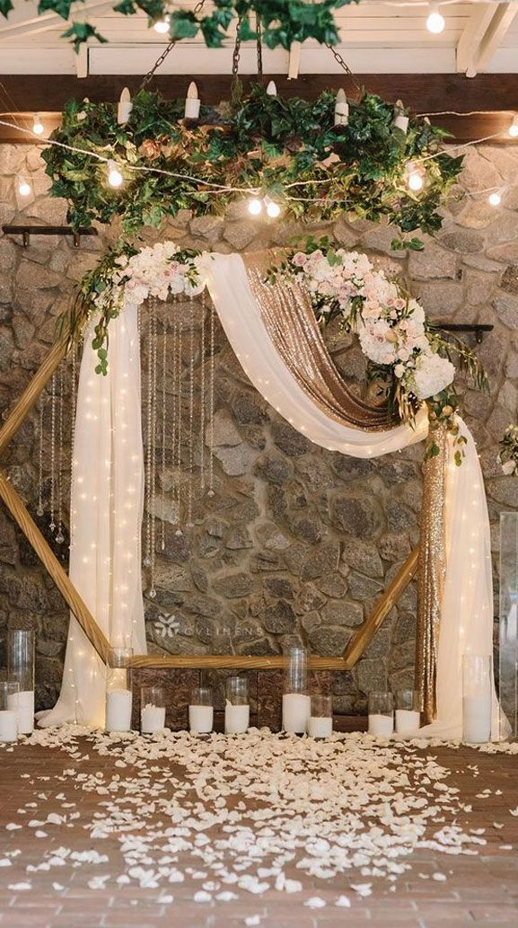 7 Wedding Arches That Will Instantly Upgrade Your Ceremony - Hexagon wedding arc...