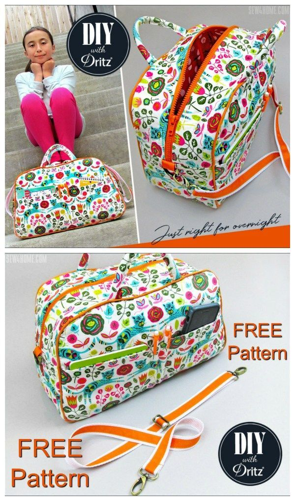 Free duffle bag or bowling style bag sewing pattern. Small purse size or kids si...