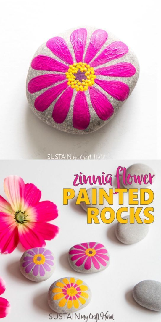 Colorful and friendly flower painted rocks #flower # colorful #rock # friendly # ...