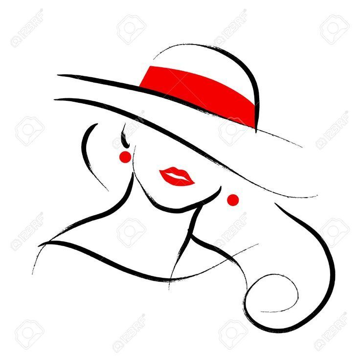 Vector hand drawn beautiful lady in hat portrait that on white background ...
