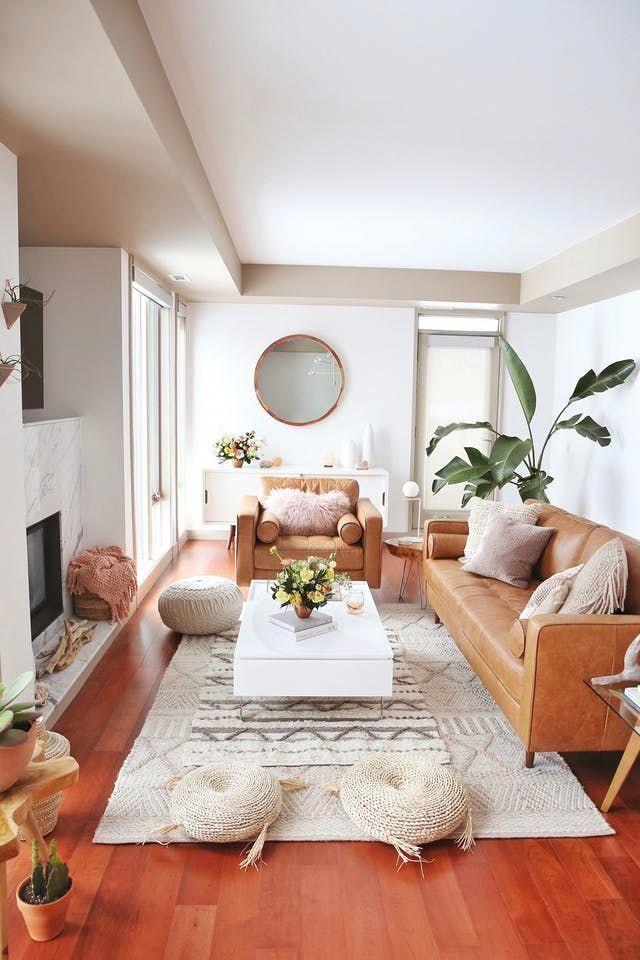 A Convenient Canadian Condo Boho Organic Living Room | Home therapy ...