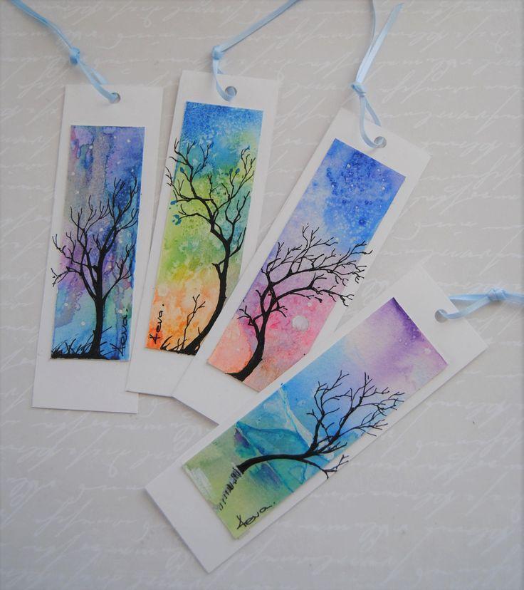 Aquarell Lesezeichen, Satz von 4, abstrakte Malerei, Baum und Himmel, handgemalt...