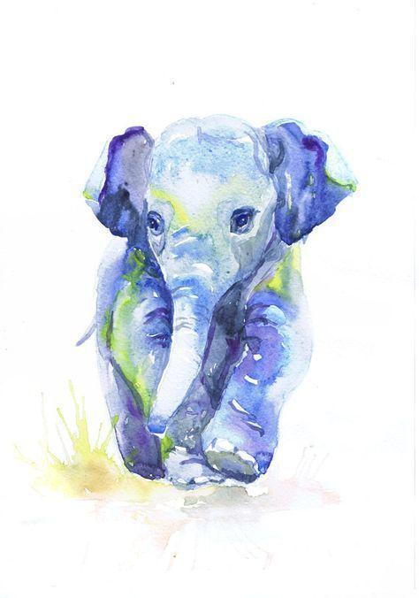 Baby Elephant Art Print, Watercolor Painting, Elephant Baby Boy Nursery Decor ...