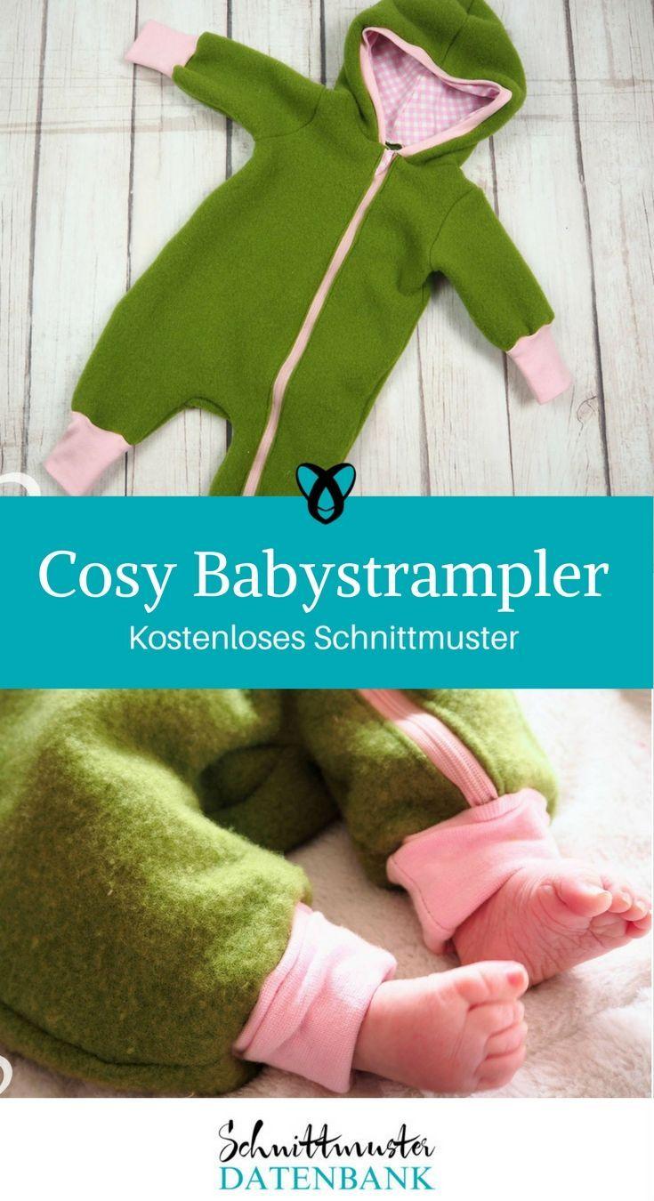 Babystrampler nähen Freebook Babyjumpsuit kostenloses Schnittmuster kostenlose ...