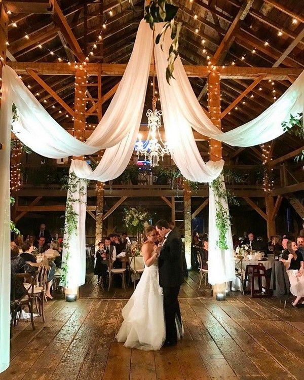 barn wedding reception ideas with draping fabric and lighting #wedding #weddings...