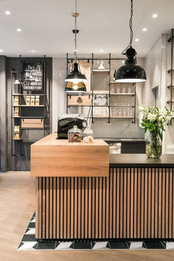 café, service counter, architecture, natural materials, wood, oak slats, chessb...