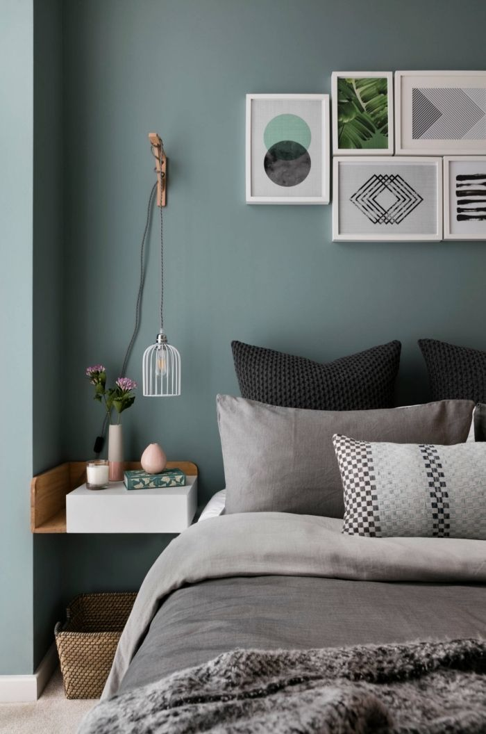 color room adult shades of green, example of green-gray paint in a room with ...