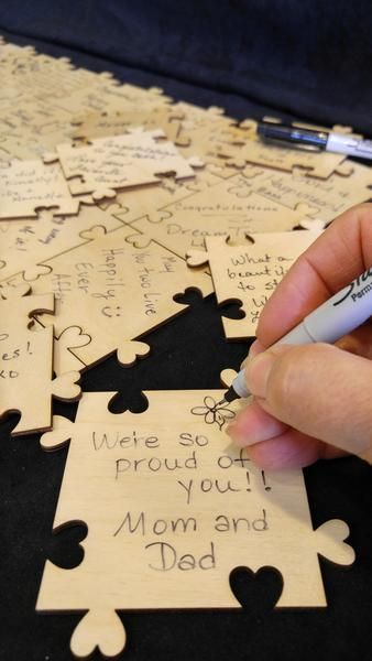 Custom Sweetheart Puzzle Wooden Signing Guest Book This is a fun guest book. 3 i...