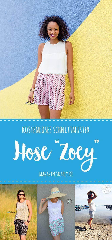 Damen Shorts, kurze Hose nähen, Schnittmuster kostenlos, Freebook inkl. DIY Anl...