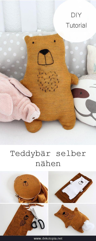 DIY-Anleitung mit Vorlage: Nähe einen Teddy aus einem alten Pullover (Upcycling...