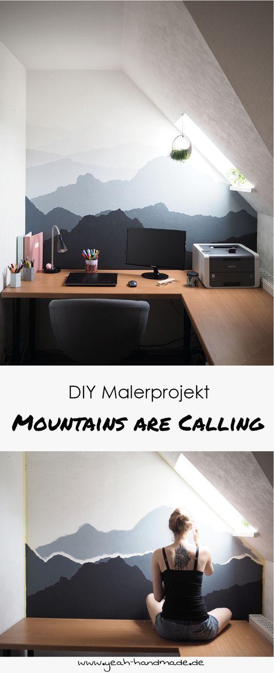 DIY Malerprojekt: Berglandschaft an die Wand malen. Tipps und Anleitung, um Berg...