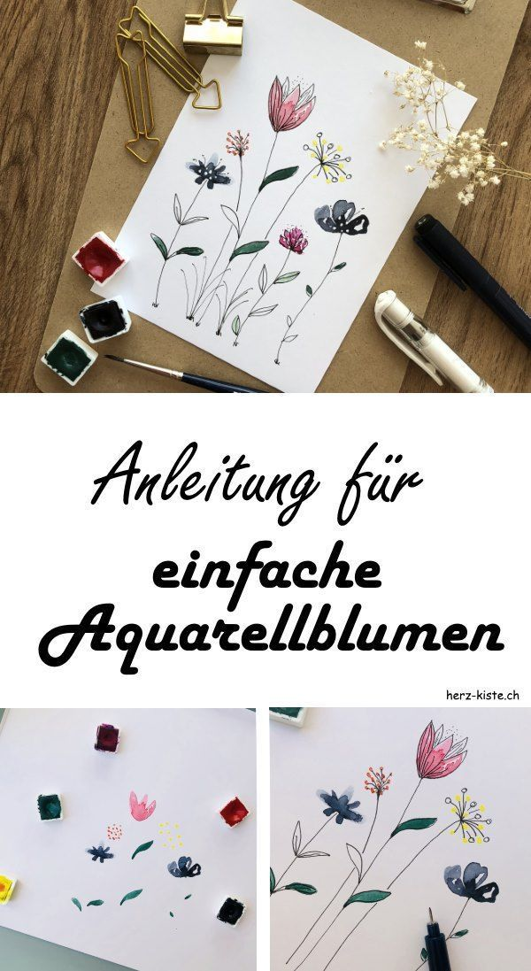 DIY tutorial for simple watercolor flowers. How to paint a simple simple aquarelle ...