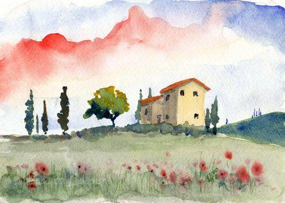 Italian watercolor landscape Tuscan spring ...