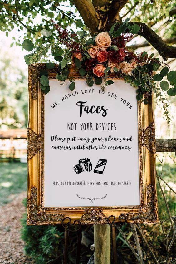 Eye-catching signage for an unplugged wedding ceremony. DIY Wedding Ideas | Rust...