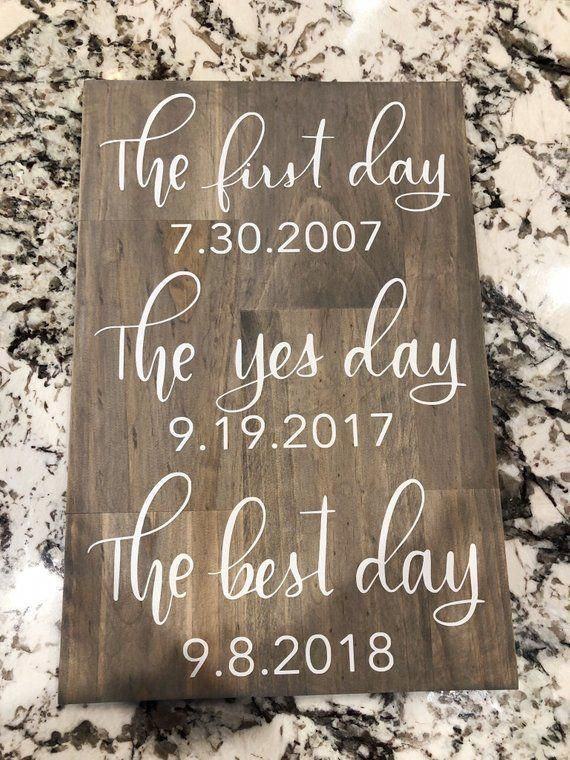 First Day Yes Day Best Day Wedding Sign Wedding Sign Best   Etsy #weddings