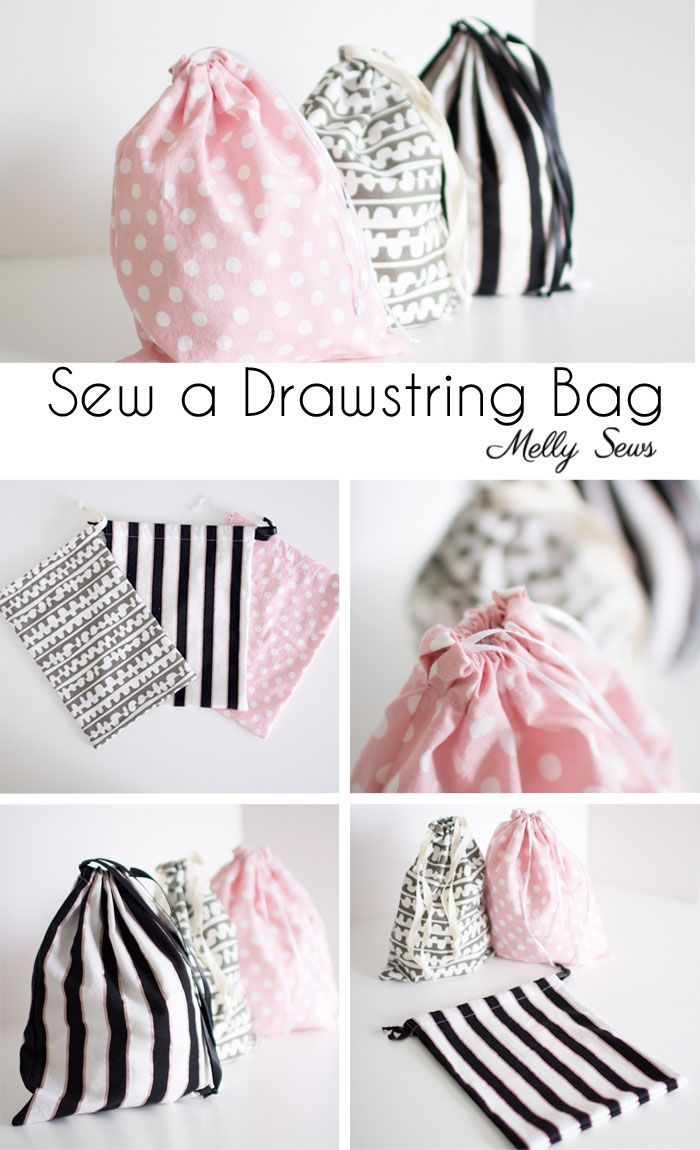 First sewing project - Sew a Drawstring Bag - Beginner Sewing Project - Melly Se...