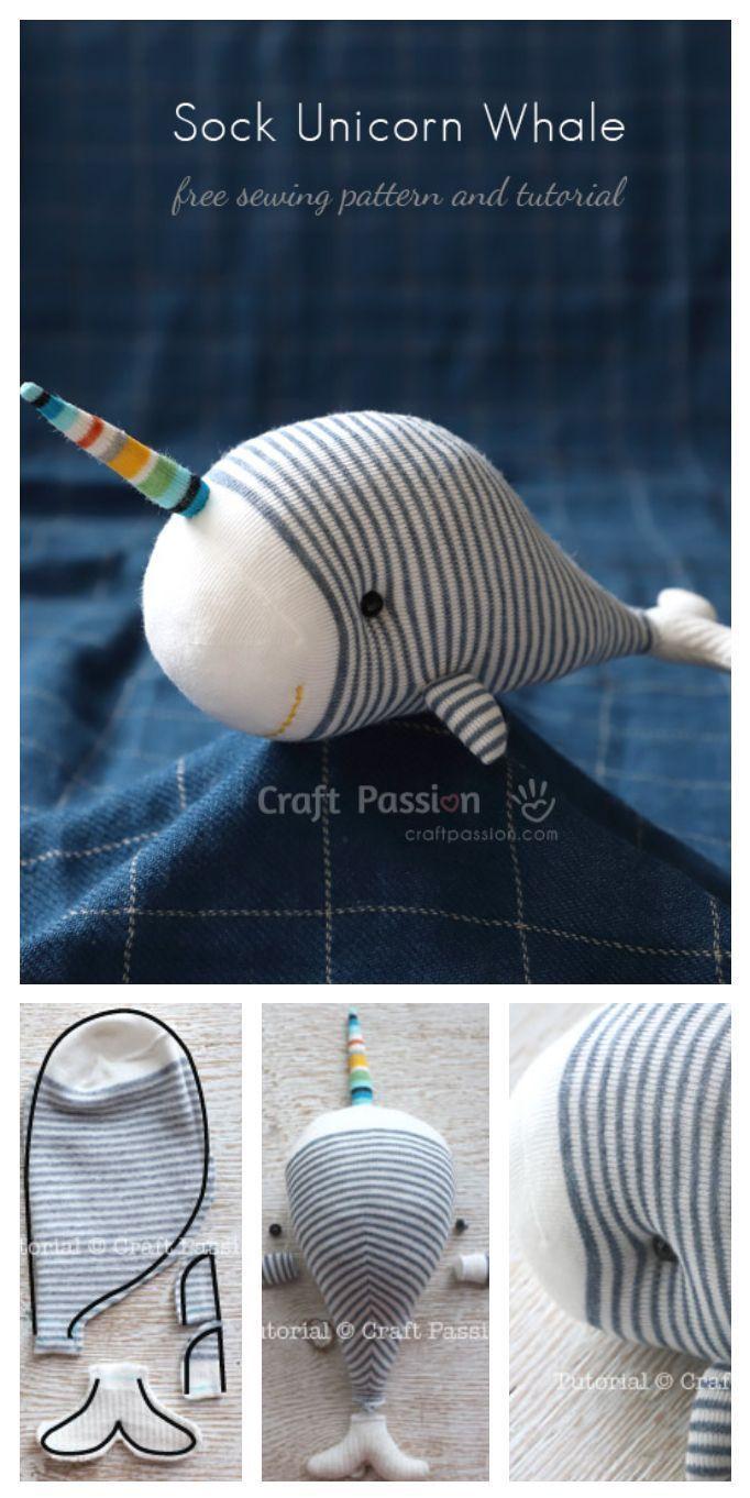 Free Stuffed Animal Plush Toy Sewing Pattern & Tutorial, sewn from sock. #freepa...