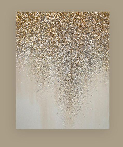 Glitter Art Painting Acrylic Abstract Original Art on Canvas by Ora Birenbaum Be...
