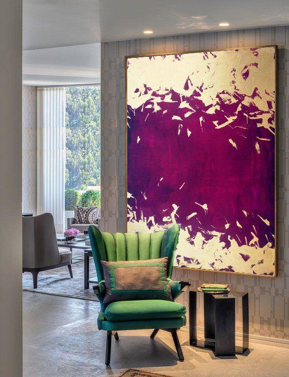 Gold Purple Painting, Abstract Acrylic, Canvas, Handmade, Original, Acrylic, Large ...