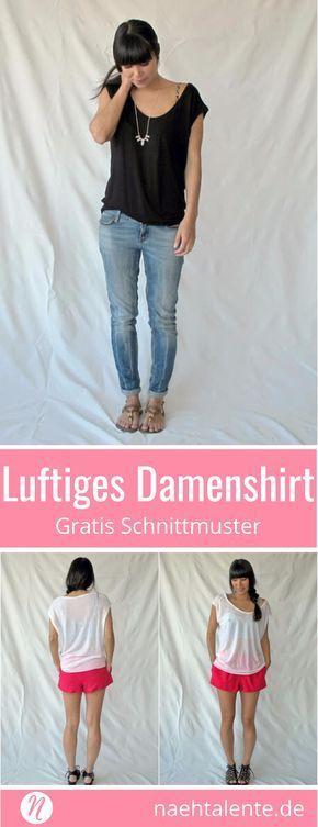 Gratis Schnittmuster für ein Damenshirt mit tiefem Ausschnitt. PDF-Schnittmuste...