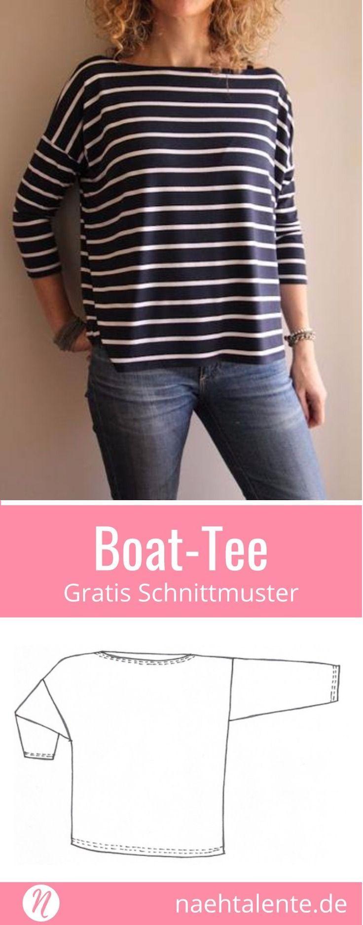 Gratis Schnittmuster Oversize-Shirt mit U-Boot-Ausschnitt. PDF-Schnitt zum Ausdr...