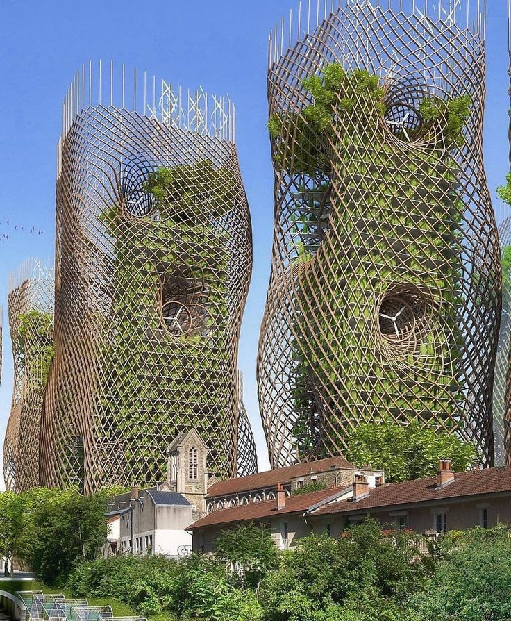 """GREEN ARCHITECTURE NOW on Instagram: """"Bamboo nest towers, Paris smart city 205..."""