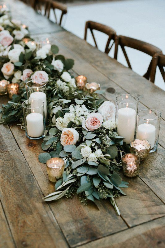 Greenery garland wedding centerpiece with peonies + candles {Life in Bloom}