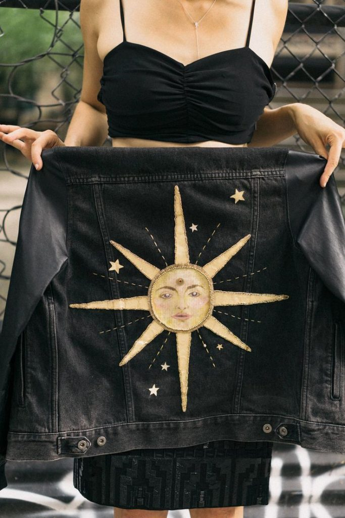 """Hand-painted and embroidered upcycling jacket """"Long Time Sun"""" - Maxine Hoover, #bes ..."""