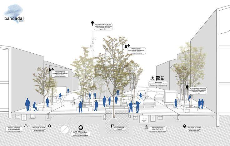 Hidalgo Avenue Urban Regeneration, in Mexico City. Urban planning and public pla...
