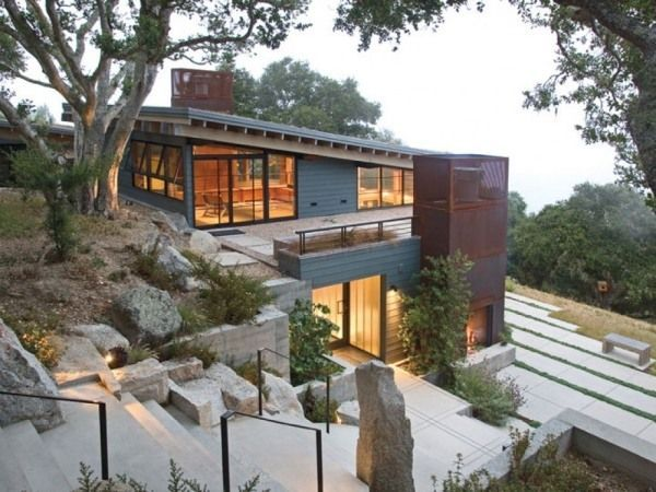 hillside house stairs forest lookout two-story cost