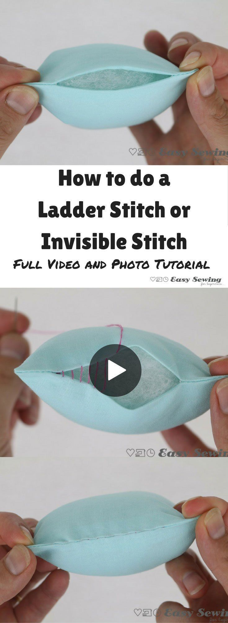 How to do a ladder stitch or invisible stitch step by step video and photo tutor...