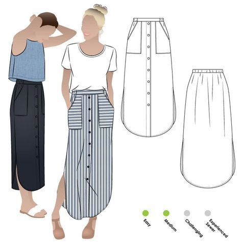 Indigo Maxi Skirt Sewing Pattern By Style Arc - Maxi skirt with elastic waist, f...