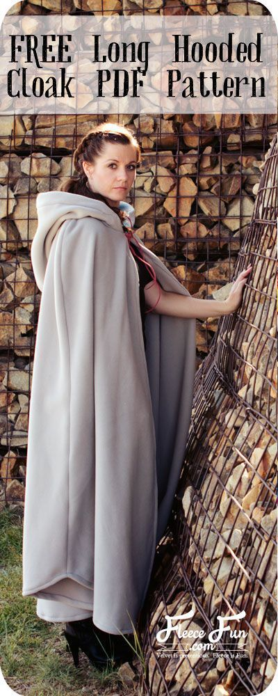 Long Hooded Cloak with pattern and DIY Tutorial!  This long hooded cloak pattern...