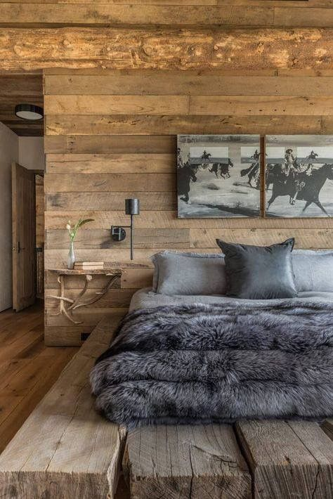 Love the contrast of the rough-hewn wood paneling on the walls with the luxe fau...