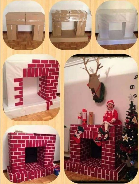 Make a cardboard fireplace for Christmas! - Nafeuse 'magazine - #carton #path ...
