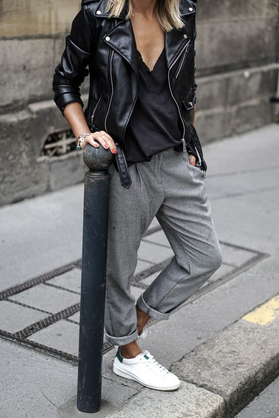 Modern and Casual Outfits for Fall and Winter with Leatherjackets, Sneakers and ...