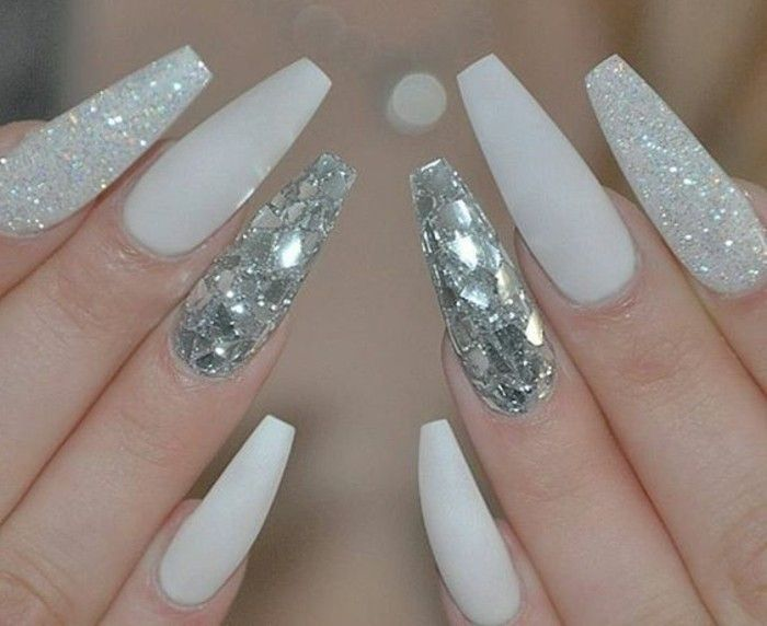 Nails with-sparkling-white-and-silver-glitter-brand designs-mirror-effect-long ...