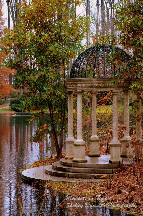 Nature Photography, Fall Gazebo in the Gardens, Photography, Landscape Photo, Ho...