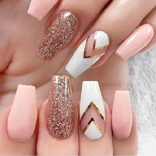 Negative Space Glittered Nail Art Design. This all rounder negative space glitte...