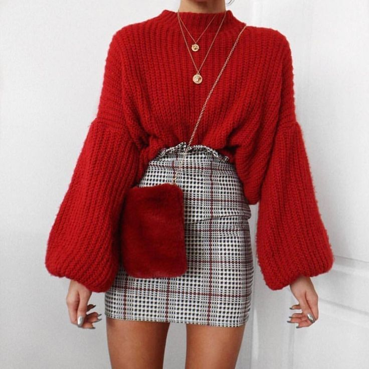Niedliche Outfits, wie man trägt, Pullover, Plaid-Rock, einfaches Outfit, Herbs...