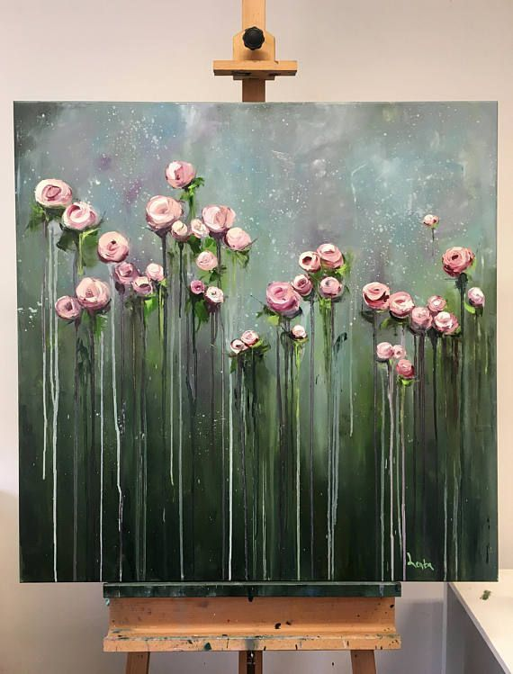 Original oil painting on canvas. * Title: Cream Flowers * Size: 90 x 90 cm * ...