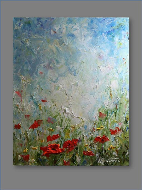 Original Painting Landscape Painting Poppy Painting Contemporary  Abstract Flowe...