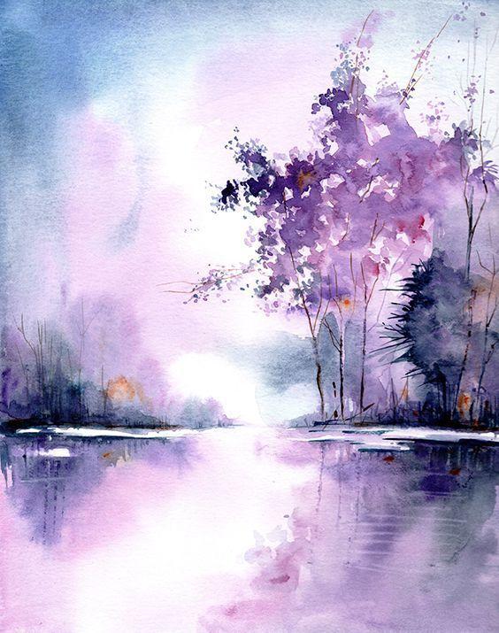 Original watercolor painting, handmade landscape painting, aquarelle landscape ...