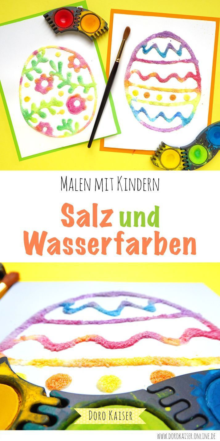 Painting with children with salt and watercolors #male