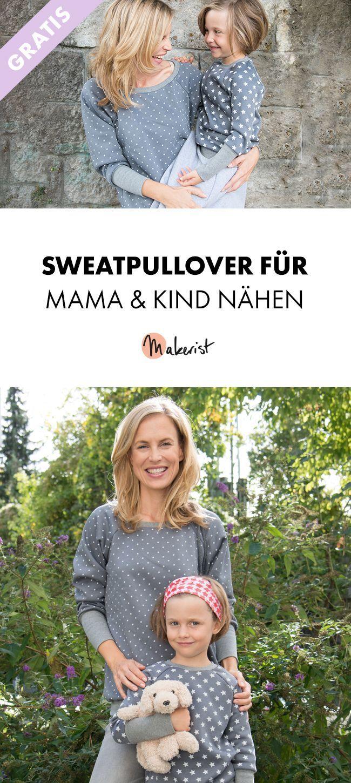 Partnerlook: Sweatpullover für Mama und Kind nähen - kostenlose Nähanleitung ...