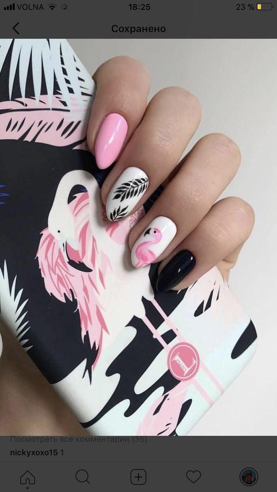 rosa Flamingo-Nägel; Ananas- und Flamingo-Nägel; Flamingos Frühling Sommer Na...